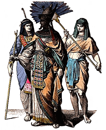 Egypt - Egyptian King, Court Official and Fanbearer (Plate 2d)