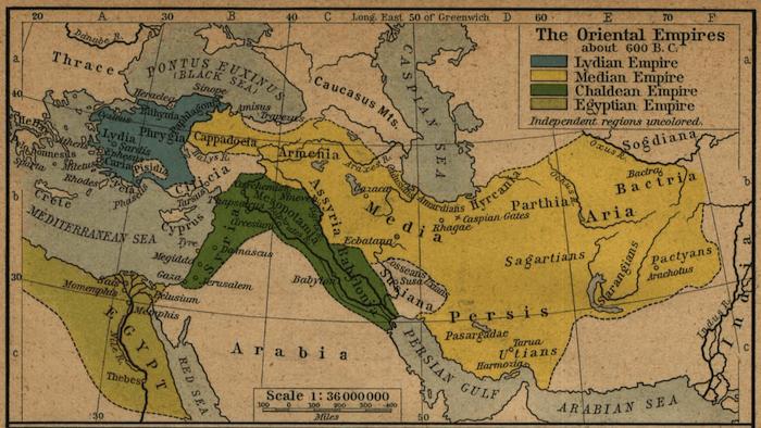 Egypt - Mesopotamian Empires Map (600 BCE)